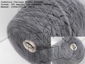 Industria Italiana Filati FOULARD темно-серый с голубым подтоном на черной основе (4123)